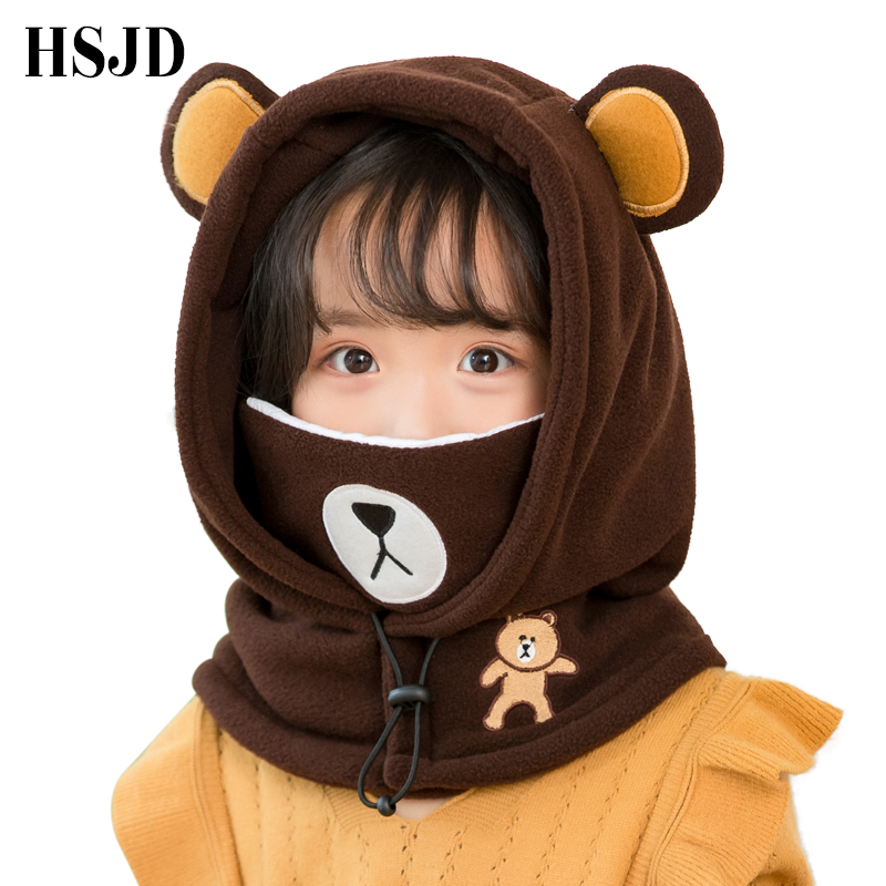 Cute Cartoon Children Winter Animal Bear Ski Masks Hats Kids Baby Thermal Fleece Balaclava Face Beanies Warmer Skullies Hats