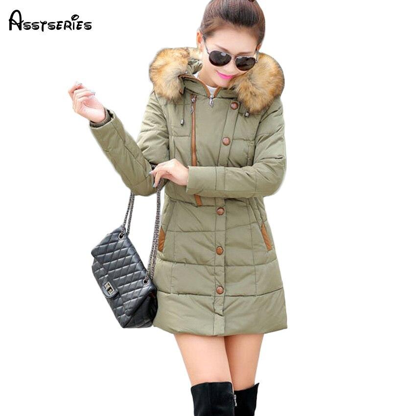 Free shipping Women's Winter Jacket Women   Parkas   Female Faux Fur Collar Hooded Cotton Warm Coat For Women Femme 63hfx