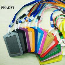 FHADST New Candy Colors ID Holders Bank Credit Card Holders Unisex PU Leather Neck Strap Working Badge with Lanyard Wholesale(China)