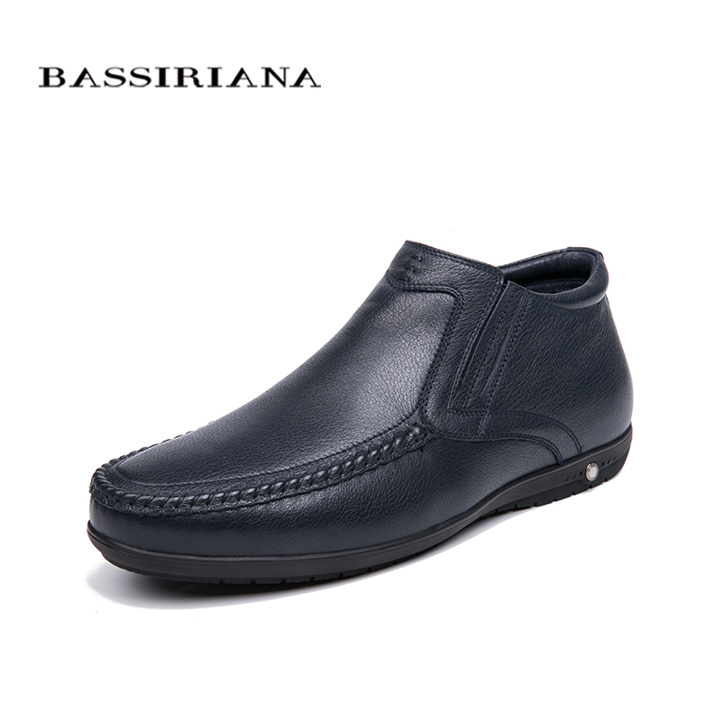 BASSIRIANA 2018 winter new men's casual shoes natural leather men's shoes size 39-43 free shipping