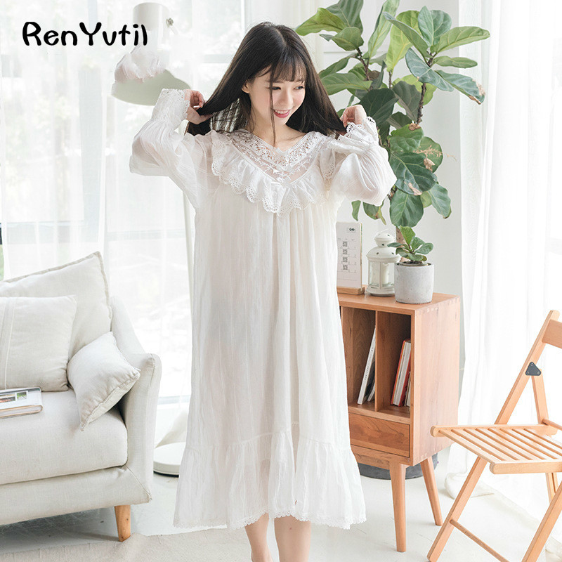 buy RenYvtil Free Shipping 100% Cotton Princess Nightdress Linen Long Royal Nightgown  White Sleepwear Ladies pijama feminino DS ae4572fdd