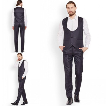 Handsome Two Pieces Men Suit Custom Made Double Breasted Cheap Men Groomsmen Suits Formal Wear (Pant+Vest)