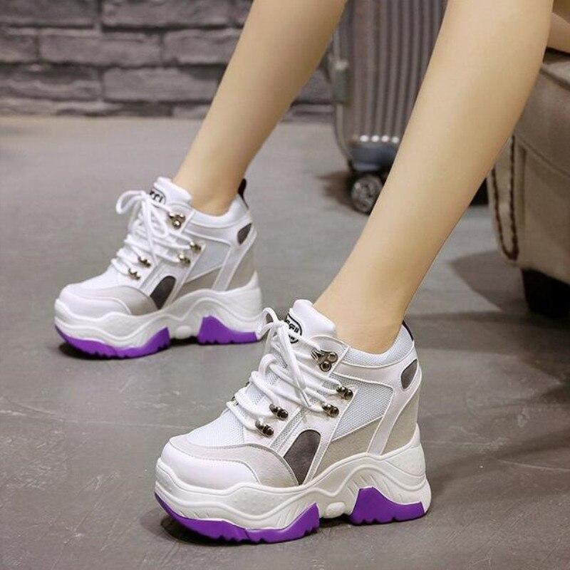 2019 nuevos zapatos casuales de plataforma de Mujer Zapatos de tacón de cuña transpirables de malla 10 CM de otoño zapatillas de deporte de Mujer 4