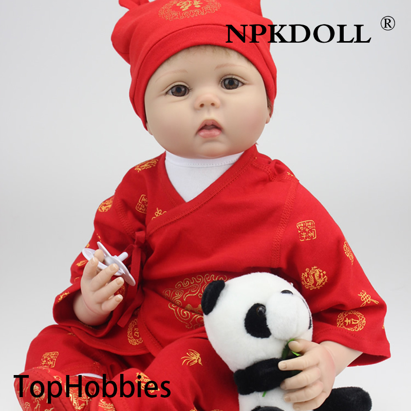 G170 Wholesale 22 Inches Silicone Reborn Baby Doll For Boys Toys Safe Hobbies Real Life Baby Dolls Brown Eyes Special Toys