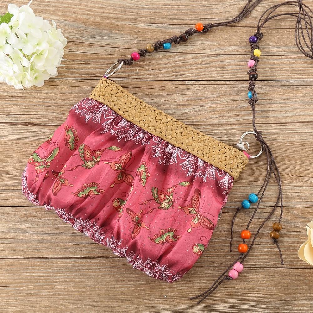 Vintage Ethnic Embroidery Boho Bag Shoulder Crossbody Messenger Bags Women Canvas Small Coins Travel Beach Purse Flap Mini Bag