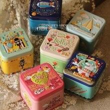 6 шт./лот жестяная коробка ZAKKA сахар Чай Кофе разное закуски чехол для хранения коробка конфет трехмерный рельеф size7.5×7.5×6.5cm