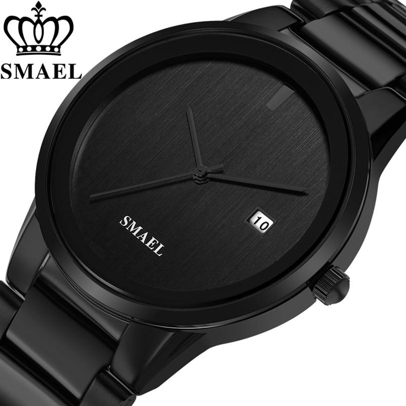 SMAEL Watches Men Luxury Brand Simple Black Stainless Steel Watch Quartz Analog Wristwatches Relogio Masculino erkek kol saati