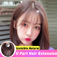 U Part Hair Extension Toupee Straight Artificial Human Hair Material Hair Hand made Natural Black Top Hair Top Durable Quality