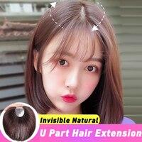 U Part Hair Extension Toupee Straight Artificial Human Hair Material Hair Hand made Natural Black Top Hair Top Durable Quality