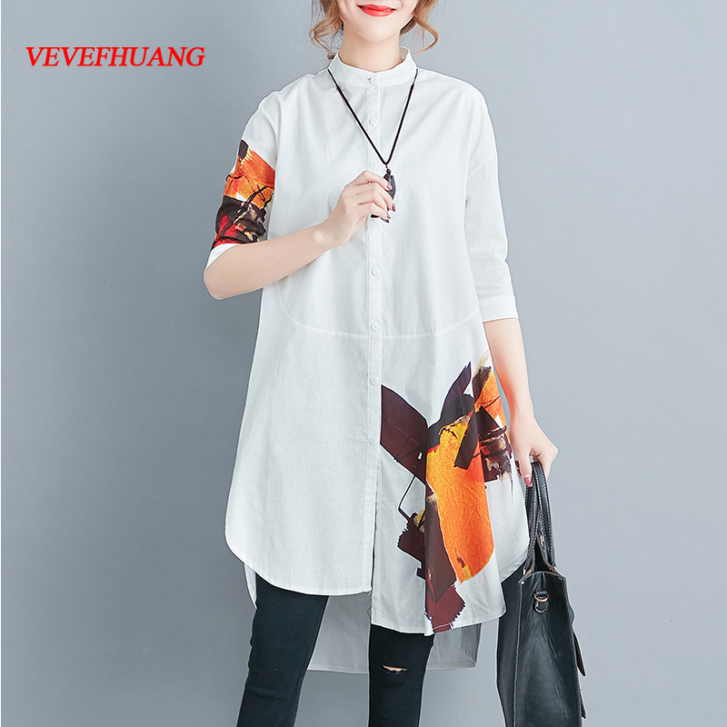 New Fashion Summer Top 2018 New Women Half Sleeve Loose Cotton Shirts Plus Size White Blouses Oversized Clothes