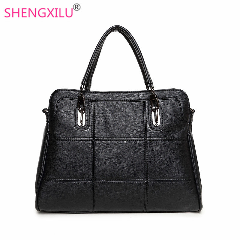 Shengxilu genuine leather women bags autumn winter female shoulder bag ladies big black crossbody bag brand