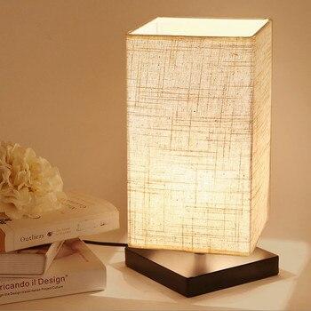 Japan style minimalist linen art Table Lamps Nostalgic rural dimming E27 LED lamp for bedside&narrow table&study room ZLTD011
