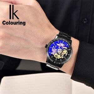 Image 5 - Ikcoloring золотые Роскошные мужские часы с автоматическим скелетом, механические наручные часы, модные повседневные часы из нержавеющей стали
