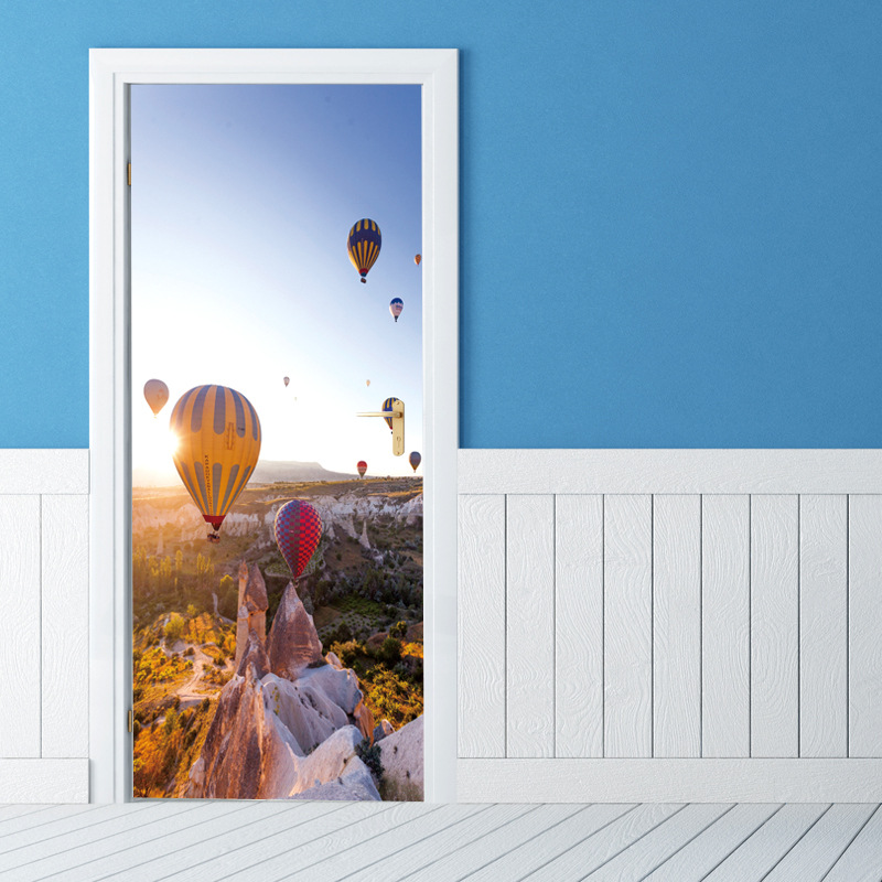 Creative DIY 3D Door Stickers Gorge Hot Air Balloon Pattern for Room Wall Decoration Home Decor Accessories Large Wall Sticker high quality diy romantic flowers pattern wall stickers for home decor