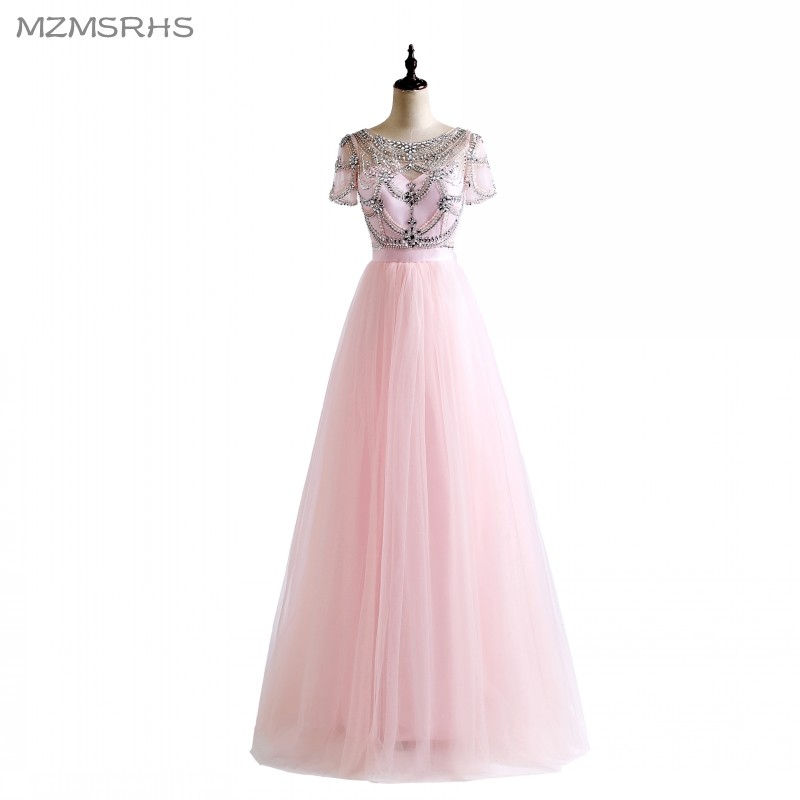New Short Sleeves Ball Gown robe de soiree Crystal Beading Pink White Colors Tulle Sexy Backless Beach Prom Dresses 2018