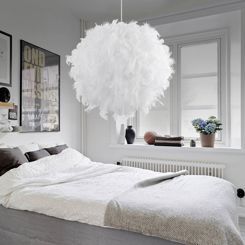 US $50.66 5% OFF|Bedroom foyer with led bulb plume plumage chandelier  hanging light lamp modern droplight white feather chandelier light lamp-in  ...