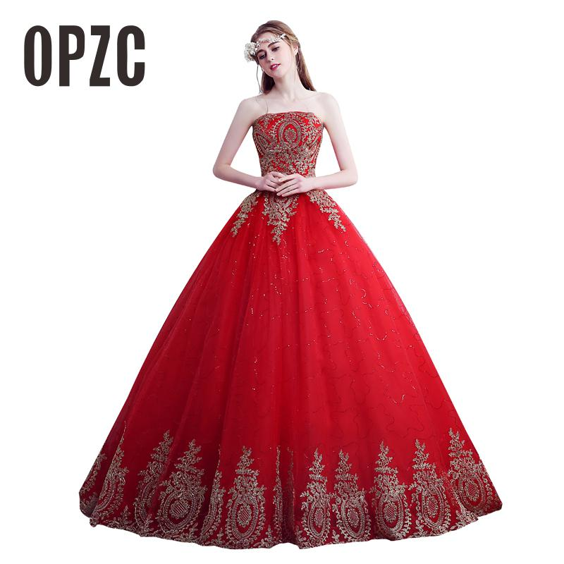 Hot Sale Custom Made Wedding Dress 2016 Gown Strapless Trailing Red Fashion wedding Dresses Cheap Wedding