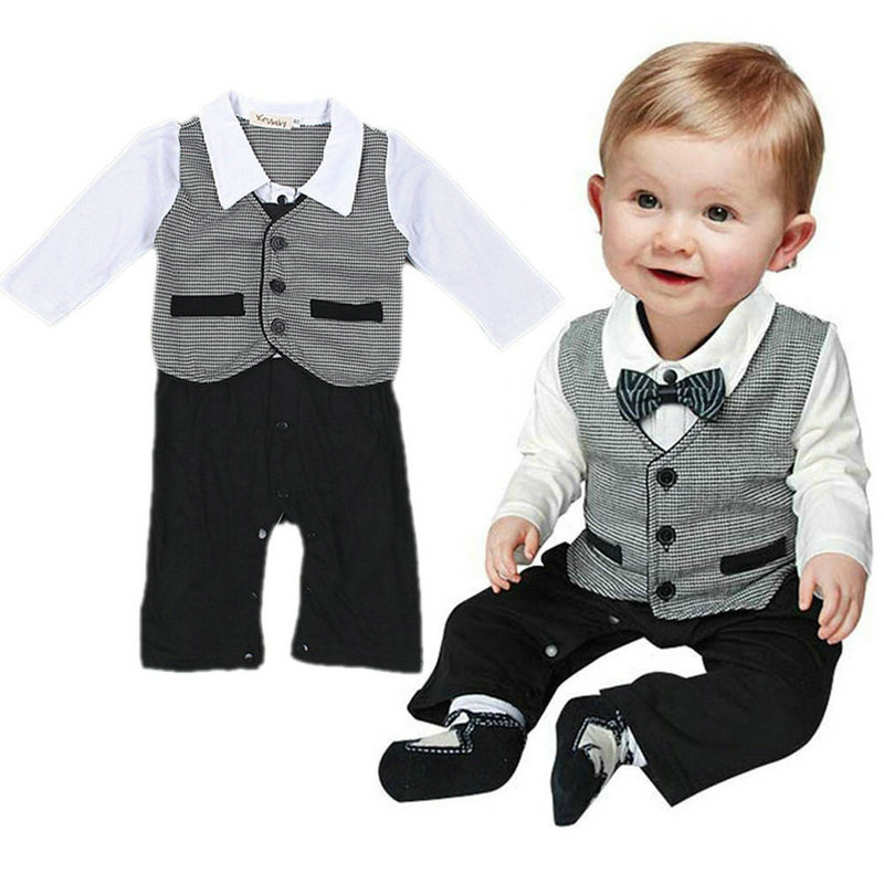 Nice Boy Baby Infant Formal Gentleman Clothes Button Necktie Suit Romper 0-18M gentleman baby boy clothes black coat striped rompers clothing set button necktie suit newborn wedding suits cl0008