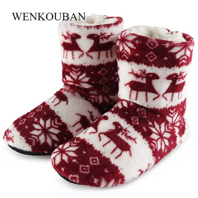 86df0f5ecbe4c Fashion Winter Shoes Woman Home Ankle Boots Christmas Deer Indoor Socks Boots  Warm Ladies Cartoon Fur