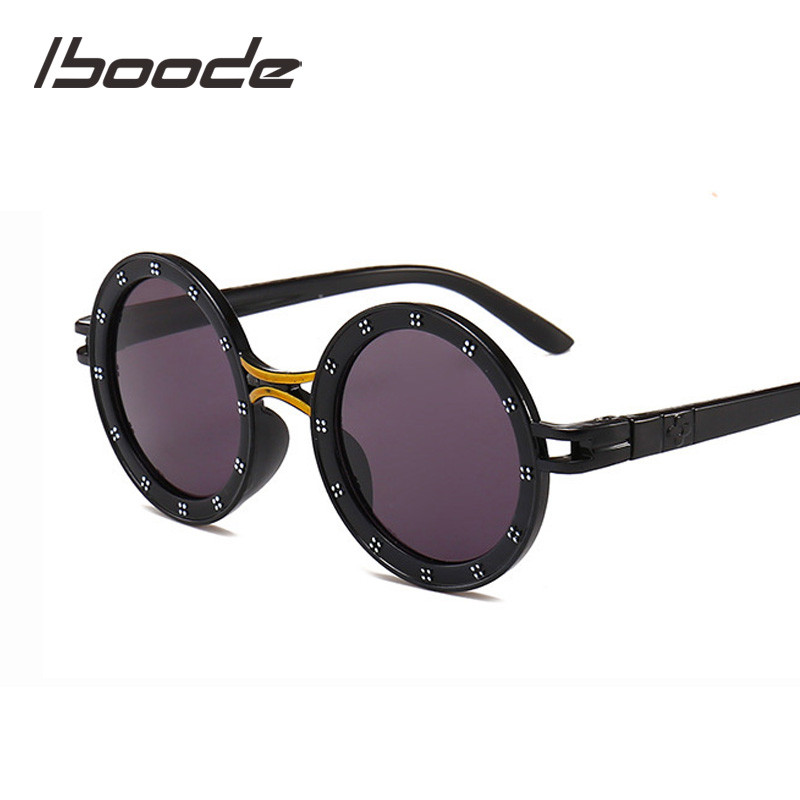 iboode Children Sunglasses Fashion Cute Glasses Goggles Round Female Kids Sunglasses For Boys Girls Baby