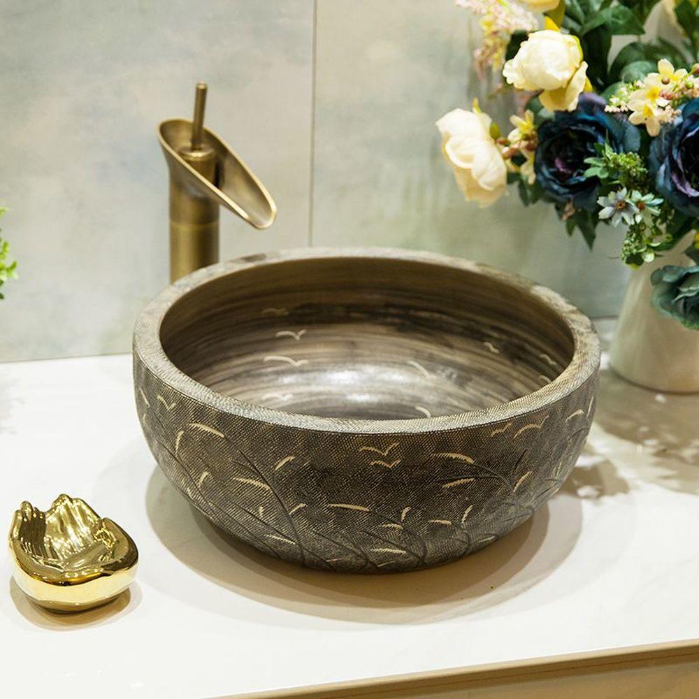 Новый китайский Ретро керамические бассейна над встречной умывальник Круглый ванной комнате раковина Малый соломы свет Роскошные LO618459