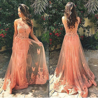 Sexy Sheer Backless Lace Long Evening Dresses Peach Celebrity Formal Dress Party Arabic Vestido De Festa Longo for Women