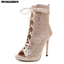 TINGHON New Spring/Autumn Fashion Silk Boots Sandals Lace Up Cross-tied Peep Toe High Heel Ankle Strap Women