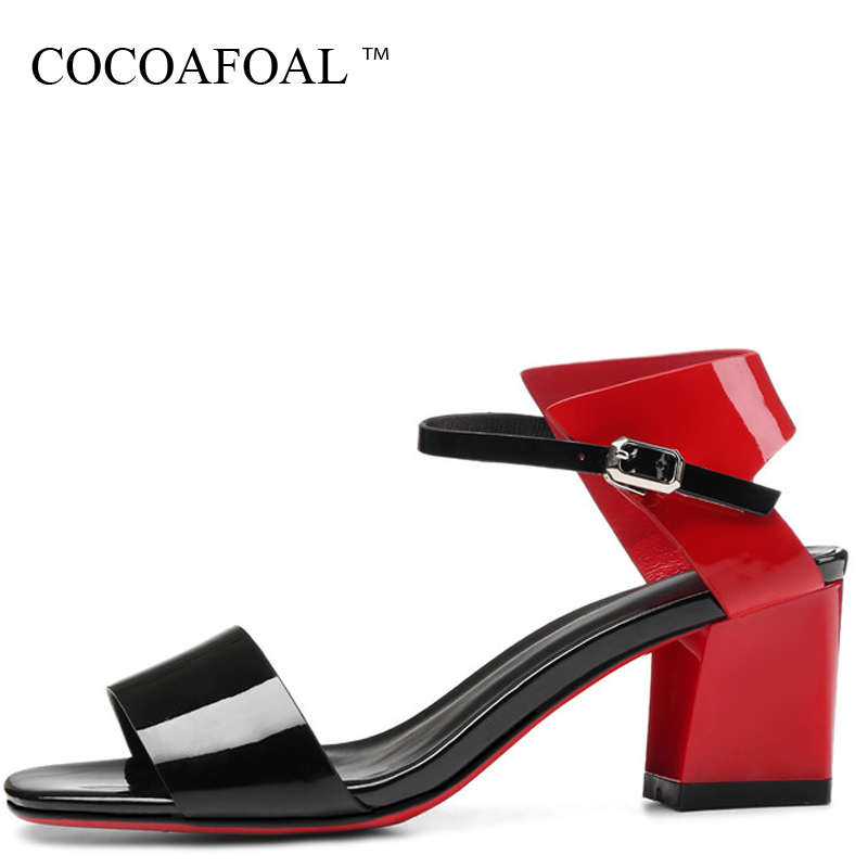 COCOAFOAL Women Open Toe Heels Sandals Fashion Genuine Leather Wedding Heel Height Bridal Shoes Party Green Red Sexy Sandals cocoafoal woamn patent leather sandals fashion heel height black white wedding shoes sexy genuine leather pointed toe sandals