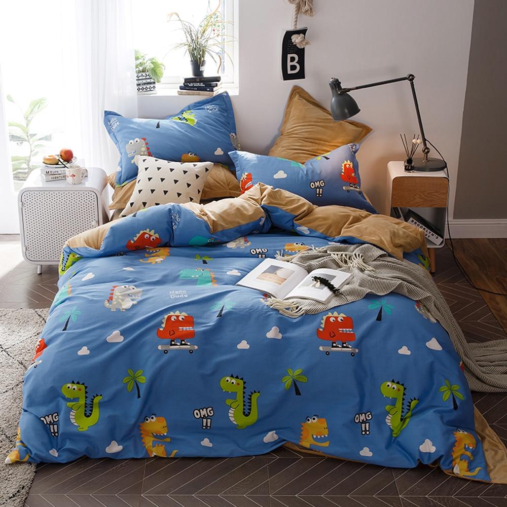 2018 Cartoon dinosaure bleu literie 1 côté coton 1 côté corail polaire ensemble de literie double reine roi housse de couette ensemble taies d'oreiller