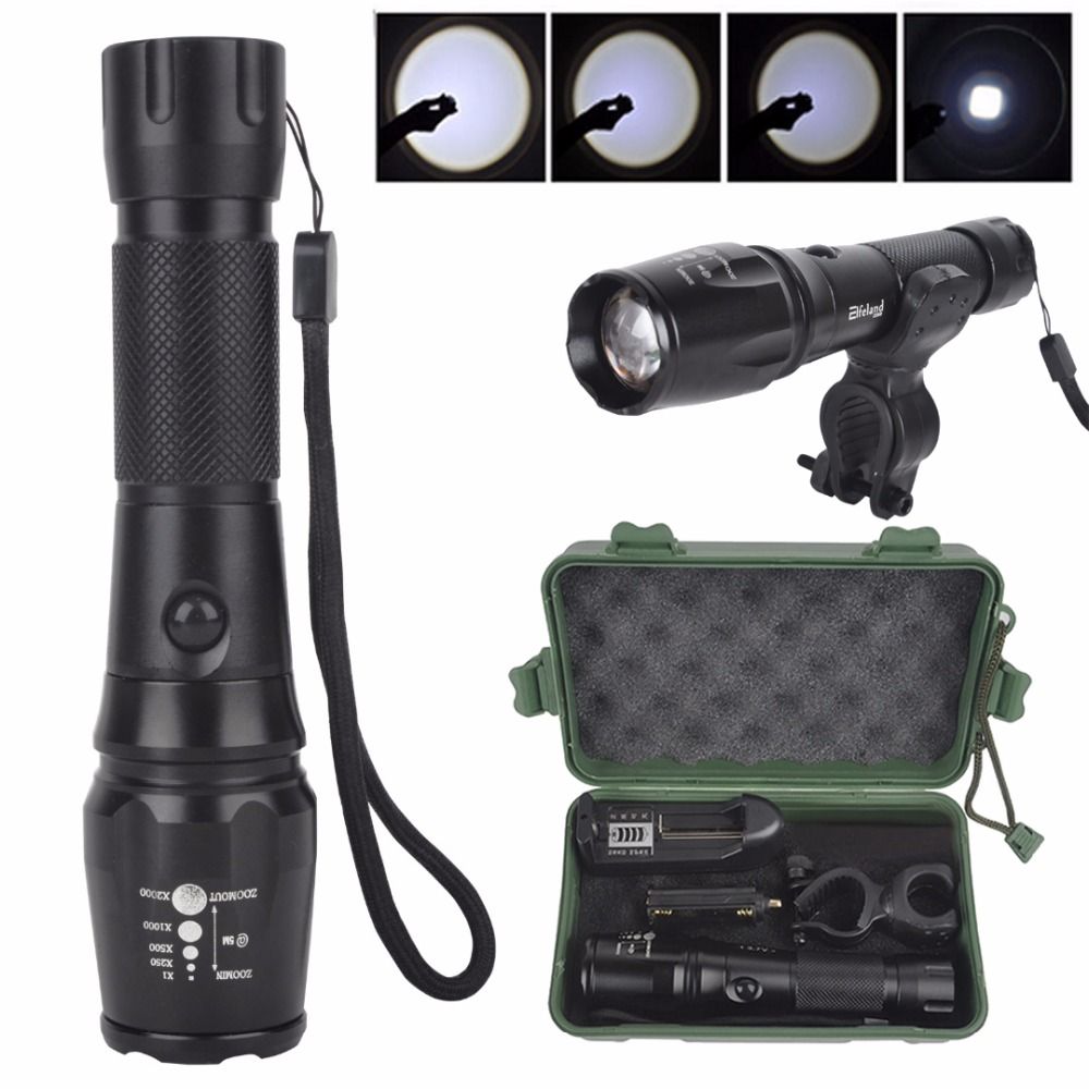 High Quality 3000lm XML T6 Zoomable LED Flashlight 18650 Rechargeable Torch + Charger + Bike Mount + Carry Box high quality zoomable cree xml t6 model 1000 lm led outdoor long shots flashlight 18650 torch high light