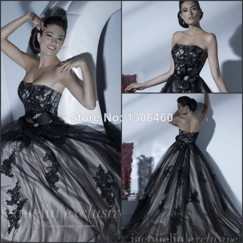 Discount Vintage Black Gothic Wedding Dresses A Line: 2015 High Fashion Vintage A Line Black And White Applique