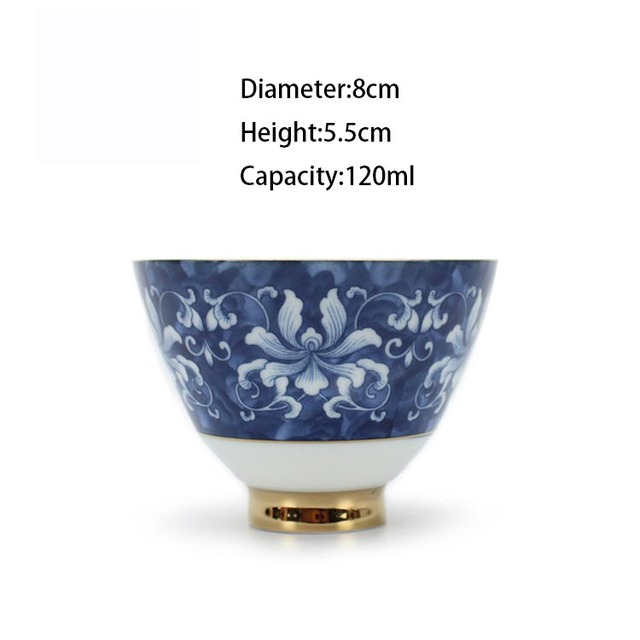 Traditional Gold Plated Blue and White Ceramic Porcelain Teacup