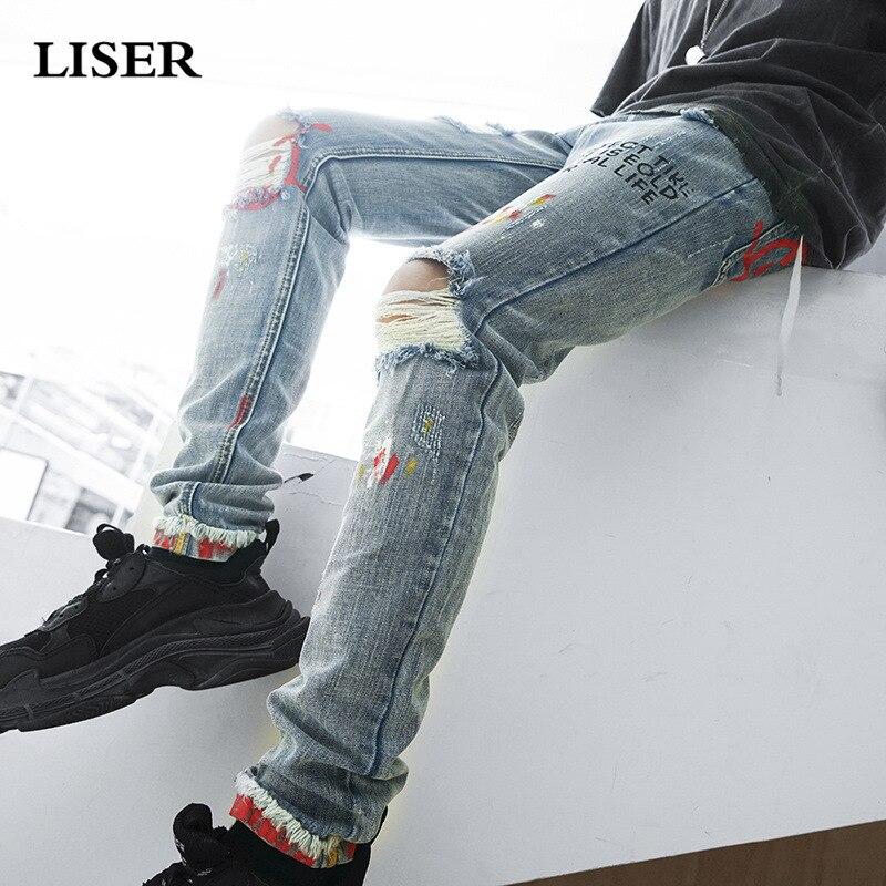Liser 2019 Jeans Pants Men Streetwear Sweatpants Pantalones Hombre Letter Printing Denim Pants Men Hip Hop Mens Jeans