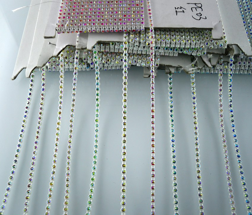 906c41ccfa US $1.89 5% OFF|Diy SS6 A grade AB crystal glass stones 2mm rhinestones  white plastic cup garment shoes wedding decorations banding chain 2yards-in  ...
