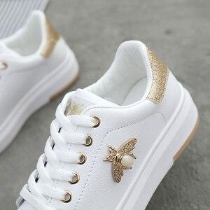 Image 3 - 여성 캐주얼 신발 2020 새로운 여성 스 니 커 즈 패션 통기성 PU 가죽 플랫폼 화이트 여성 신발 부드러운 신발 라인 석