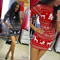 2016 New Fashion autumn three Quarter dress sexy casual o-neck fashion printed floral mini dress