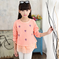Children 's Fall 2016 new fall girls cartoon embroidered long - sleeved T - shirt baby girl clothes