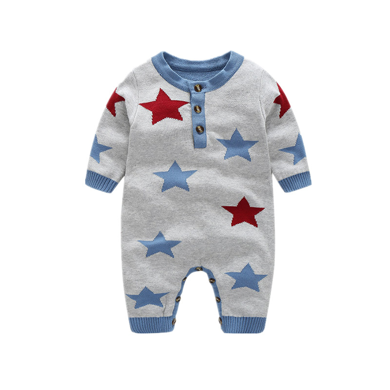 Myudi -Newborn Baby Sweater Cotton Knitted Star Children's Warm Romper Boys Girls' one piece Clothing Toddler New year Gift 0-2Y