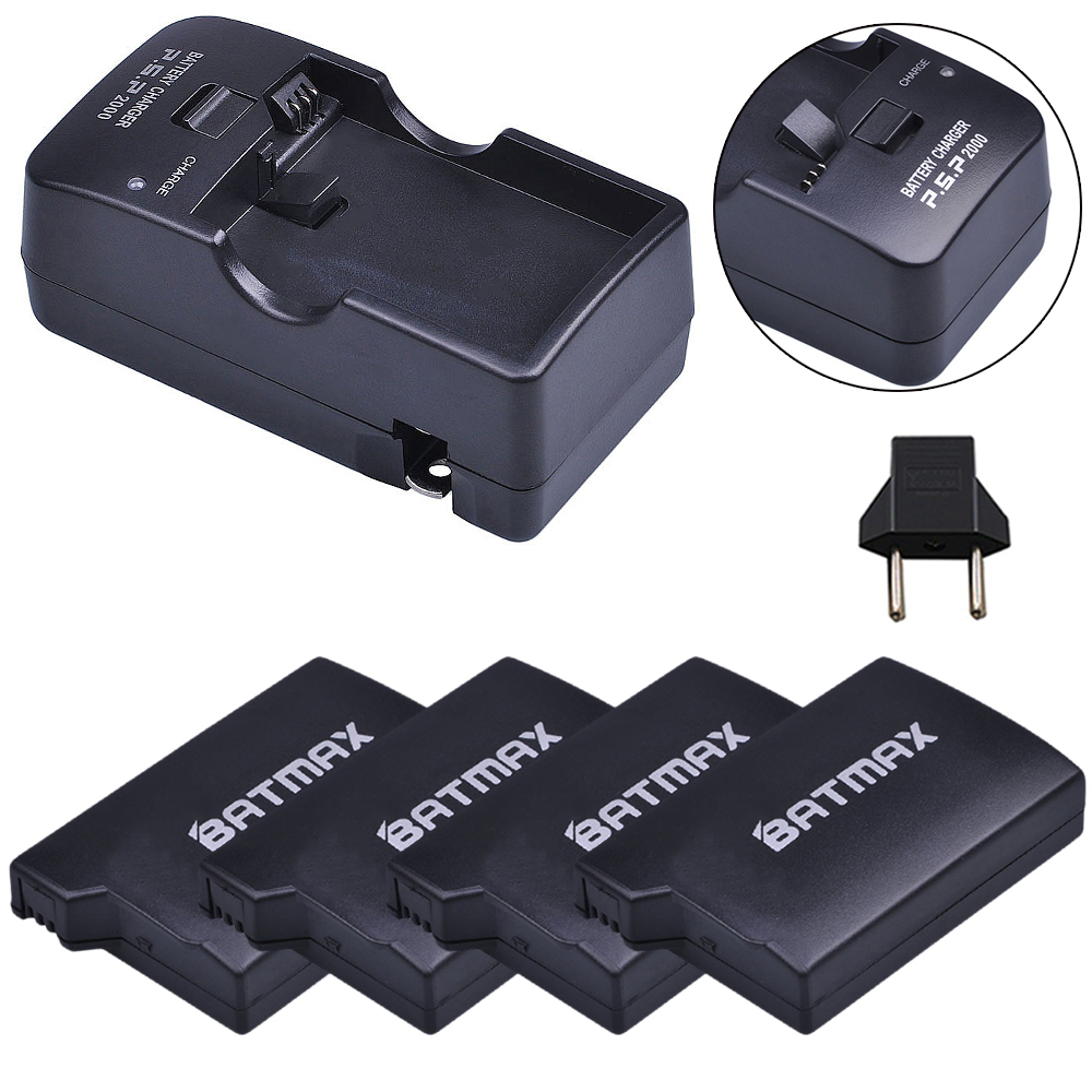 For 4Pc PSP-1000 PSP 1000 Battery 3.6V 3600mAh Batteries Accu + Charger Kits for PSP 1000 Playstation Sony PSP1000 Battery