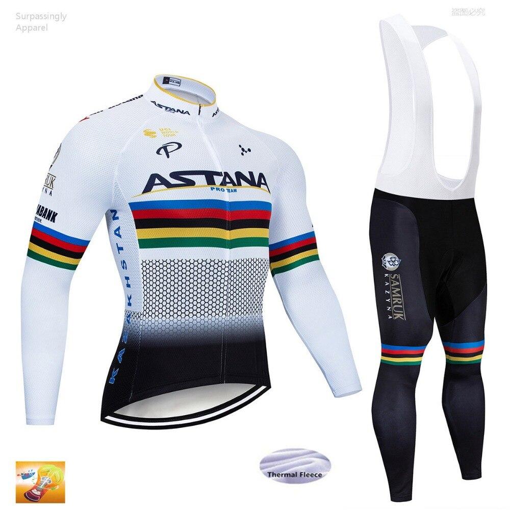 2019 équipe ASTANA cyclisme Jersey 16D Pad pantalon ensemble UCI Tour hiver Ropa Ciclismo hommes vélo Maillot Culotte vêtements à manches longues