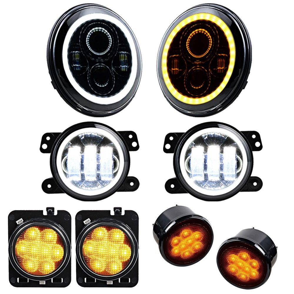 Set for 07-17 Jeep Wrangler DOT Daymaker 7 Headlight + 4 Fog Lamp Halo Ring + Turn Signal Light + Side Maker LED Lighting