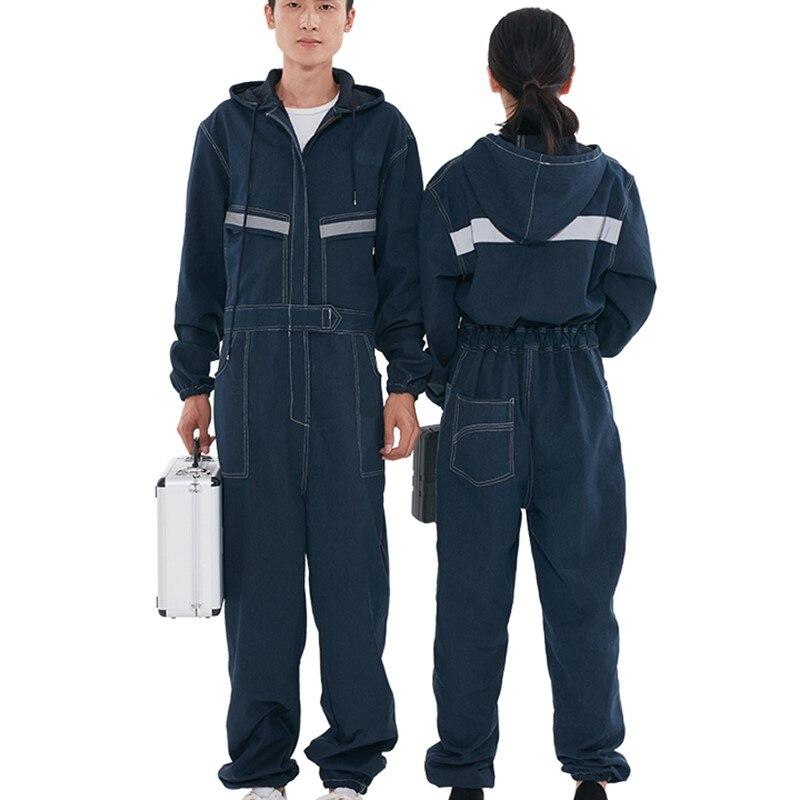 macacao jeans roupas de trabalho das mulheres 04