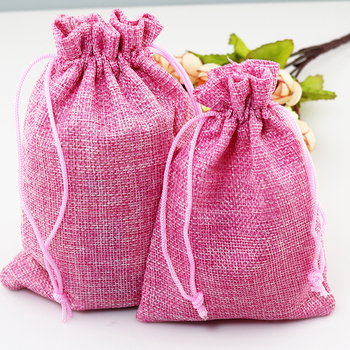 100pcs/lot 13x18cm Pink Jute Bag Gift Bag Incense Storage Linen Bag Favor Charm Jewelry Packaging Bags
