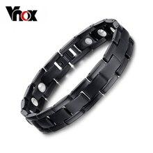 7404vnox 100% titanium salud imán de la mano de la cadena brazalete de la pulsera para los hombres de la joyería negro plateado