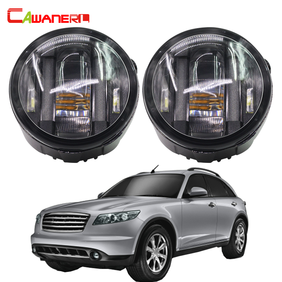 Cawanerl 2 Pieces LED Daytime Running Lamp DRL Left + Right Fog Light 12V Car Styling For Infiniti FX45 4.5L V8 2006 2007 2008 cawanerl 2 pieces car styling led fog light daytime running lamp drl 12v for infiniti g37 sport 3 7l v6 gas 2011 2012 2013