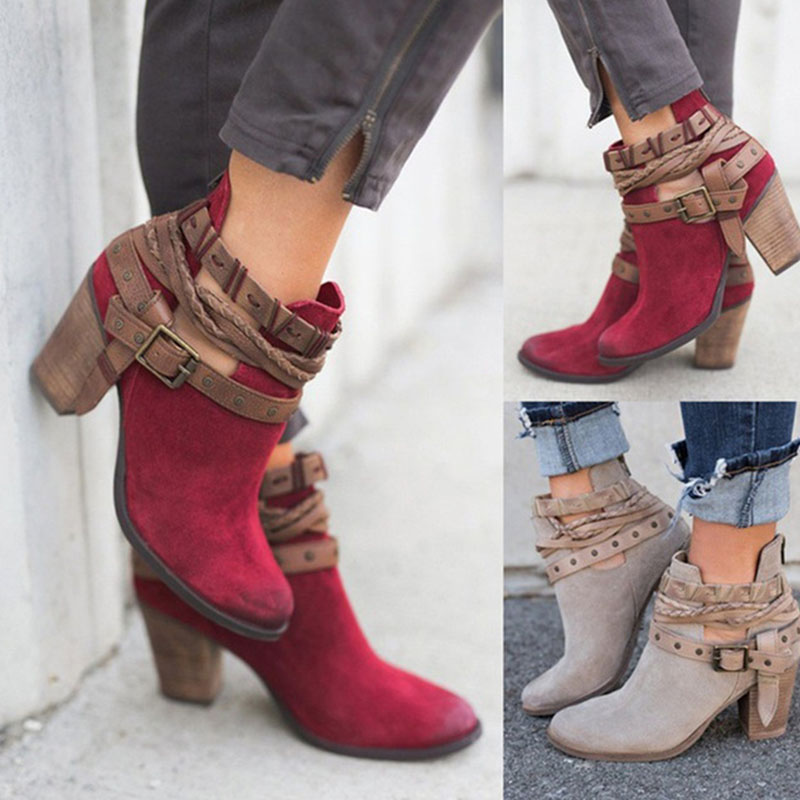 Women Ankle Boots 2019 Ladies Buckle Zip Autumn Winter Shoes Fashion Gladiator High Heels Female Rivet Plus Size Chunky HeelsWomen Ankle Boots 2019 Ladies Buckle Zip Autumn Winter Shoes Fashion Gladiator High Heels Female Rivet Plus Size Chunky Heels