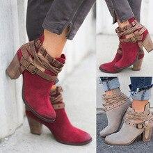 e4e9d626f684a النساء حذاء من الجلد 2019 السيدات مشبك البريدي الخريف الشتاء الأزياء  والأحذية المصارع عالية الكعب الإناث