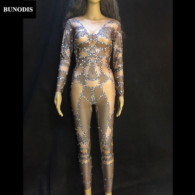 Femmes Body Sexy Mousseux Nude Zd123 Usage Performance Outfit Chanteur Danseur Costume D'étape Partie Salopette Cristaux Discothèque da8wqwc1gW