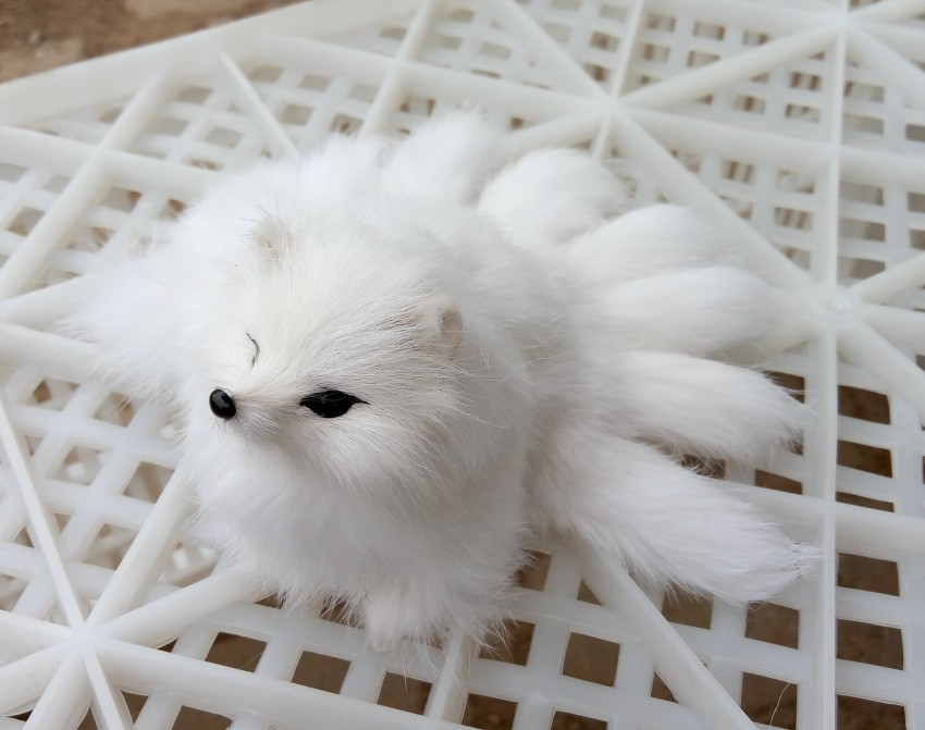 small cute simulation white fox toy resin&fur nine-tails fox doll gift about 18x7.5cm 1403 flawless foundation smooth beauty makeup powder puff sponge