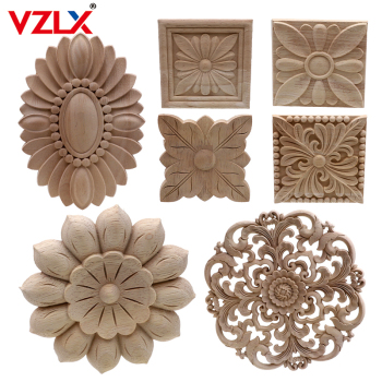 Vintage Unpainted Wood Carved Decal Corner Applique Frame For Home Furniture Wall Cabinet Door Decorative Wooden Miniature Craft 1